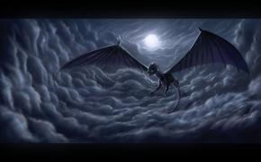 Картинка moon, night, clouds, dragon