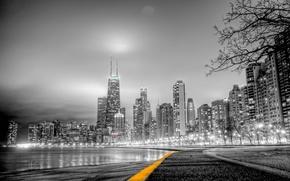 Картинка город, чёрно белое фото, парк дорожка