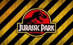 Картинка red, logo, black, yellow, jurassic park, bones