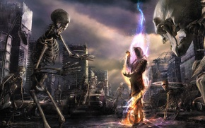 Обои живые, скелеты, кости, город, разруха