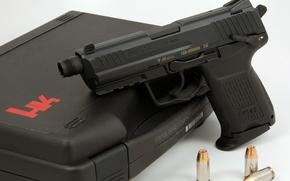 Картинка gun, pistol, weapon, ammunition, heckler & koch inc, threaded silencer, hk45c, briefcase for pistol, threaded …