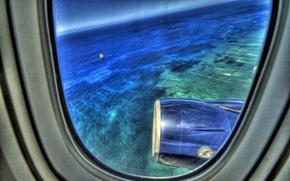 Картинка море, самолет, Иллюминатор