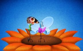 Обои бабочка, гусеница, крылья, цветок
