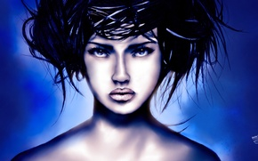 Картинка взгляд, девушка, лицо, стиль, волосы, арт, прическа, губы. синий фон