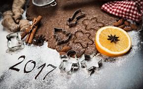 Обои Печенье, Еда, Апельсин, Корица, 2017, Новый Год