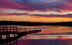 Обои небо, облака, деревья, закат, озеро, отражение, вечер, США, мостик