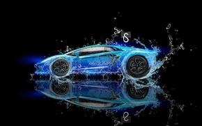 Картинка Вода, Черный, Lamborghini, Неон, Фон, Голубой, Fantasy, Blue, Photoshop, design, Black, Water, Neon, Ламборгини, Aventador, …