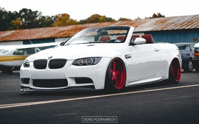 Картинка bmw, turbo, red, white, tuning, coupe, power, cabrio, germany, low, e92, stance, e93