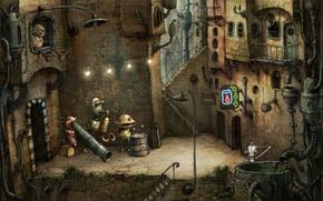 Обои машинариум, город, робот