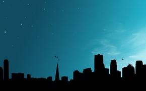 Картинка небо, ночь, небоскребы