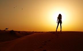 Картинка девушка, закат, барханы, пустыня, стройная, силуэт, верблюд, photographer, Eugene Nadein