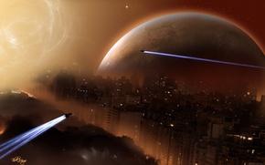 Обои звезда, планета, корабли, город
