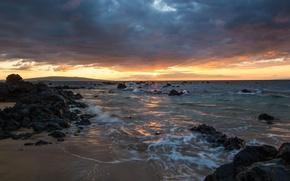Картинка небо, закат, природа, Гавайи, sky, Hawaii, nature, sunset