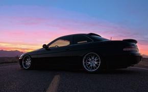 Картинка дорога, небо, чёрный, черный, Lexus, лексус