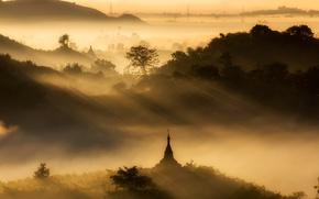 Картинка лес, рассвет, пагода, Мьянма