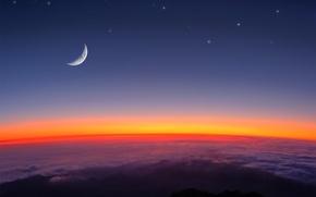 Обои луна, звезды, облака