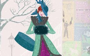 Картинка зима, взгляд, девушка, снег, вектор, шляпка, пальто, винтаж, мех. сумка