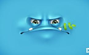 Картинка лицо, ветка, синий фон, melaamory, сердитое, grumpy