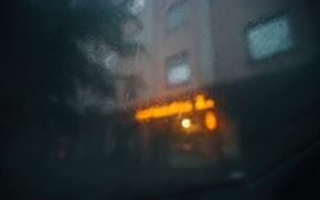 Картинка стекло, капли, город, дождь, боке