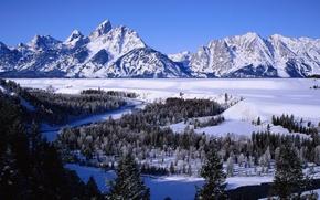 Обои река, горы, снег, леса, зима