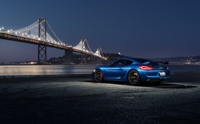 Картинка Porsche, Dark, Cayman, Car, Blue, Bridge, Night, Sport, GT4, Rear