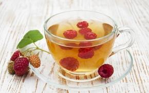 Обои ягоды, малина, веточка, чай