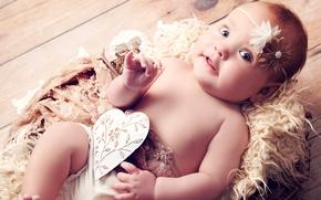 Обои сердце, ангел, funny, angel, blue eyes, newborn, beautiful little girl, children, красивая девочка, голубые глаза, ...