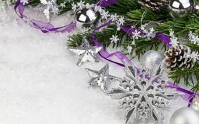 Картинка звезды, снег, шары, серебро, ель, ветка, Новый Год, Рождество, декорации, Christmas, шишки, фиолетовая, снежинка, ленточка, …