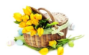 Картинка фото, Цветы, Желтый, Тюльпаны, Пасха, Яйца, Корзинка