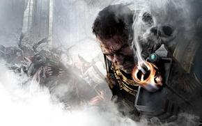 Картинка взгляд, оружие, кровь, дым, череп, дуло, Капитан, броня, орки, THQ, Warhammer 40, NeoGAF, Captain, Warhammer …