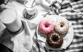 Картинка еда, молоко, пончики, выпечка, сладкое, глазурь, Grzegorz Krysmalsk