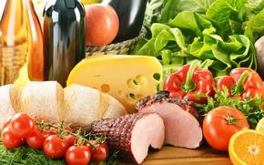 Картинка зелень, вино, apple, яблоко, апельсин, сыр, хлеб, перец, помидоры, wine, food, orange, салат, bread, cheese, ...