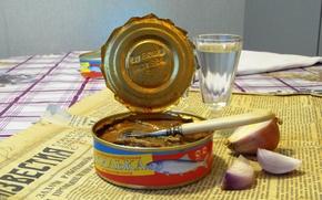 Картинка стол, еда, газета, водка, консервы, санкции