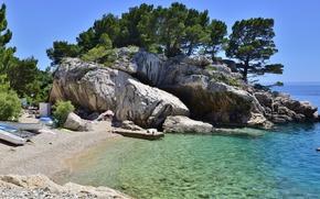 Картинка море, скалы, побережье, лодки, Хорватия
