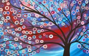 Картинка цветы, картина, дерево, рисунок, свет, природа, абстракция