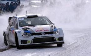Картинка Зима, Авто, Белый, Снег, Спорт, Volkswagen, Машина, Лого, Капот, Занос, Фары, Red Bull, WRC, Rally, …