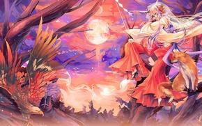 Обои аниме, девушка, лисичка, кицунэ, лиса