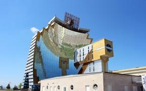 Картинка небо, зеркала, архитектура, Узбекистан, солнечные панели, sun institute, институт, parkent, физика-солнце, Uzbekistan