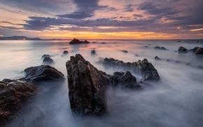 Картинка пляж, небо, облака, камни, скалы, выдержка, Испания, Баррика