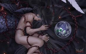 Картинка планета, крылья, арт, парень, цепи, обнажен, Wen-M