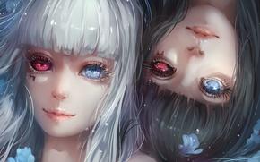 Картинка цветы, девушки, аниме, арт, гетерохромия, tokyo ghoul, kurona yasuhisa, yuiko33miao, yuiko, nashiro yasuhisa