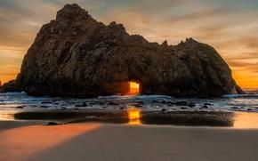 Картинка солнце, закат, берег, Калифорния, США, Биг Сюр, пляж Пфайффер