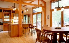 Картинка уют, дом, обои, интерьер, кухня, деревянный, столовая