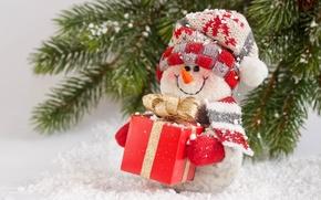 Картинка Новый Год, Рождество, снеговик, Christmas, winter, snow, gift, snowman, Merry