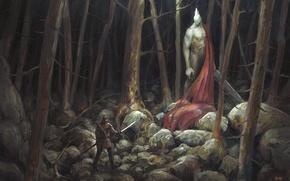 Картинка камни, человек, меч, арт, деревья, доспехи, лес