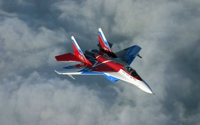 Картинка Небо, Облака, Полет, Истребитель, Высота, Многоцелевой, Четвёртого, Поколения, МиГ-29ОВТ