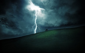 Картинка поля, молнии, лошадь, молния, пейзажи, лошади, дождь, дожди, поле, холмы, небо, трава, всадники, облака