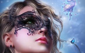 Картинка взгляд, фея, крылья, арт, лицо, волосы, кудри, губы, черная, девушка, бабочка, маска
