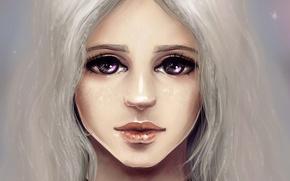 Картинка девушка, фан-арт, фиолетовые глаза, Таргариен, Песнь льда и пламени, Дейнерис