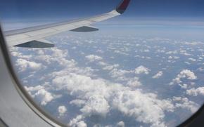Картинка небо, облака, самолет, высота, путешествие, Airbus-320